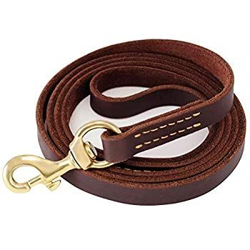Fairwin Brown 6ft 5ft Genuine Leather Dog Leash Leads Rope For
