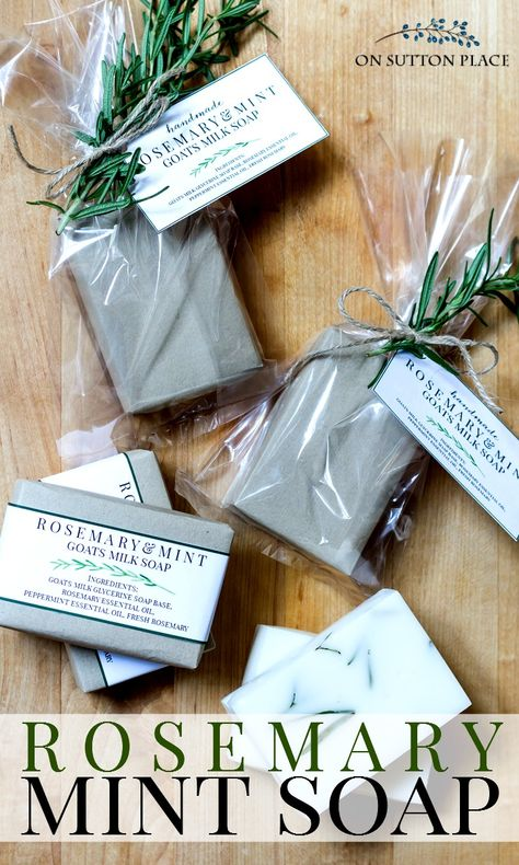 DIY Rosemary Mint Soap Recipe: Melt and Pour Version – On Sutton Place DIY Rosemary Mint Soap Recipe. Melt and pour version is easy and fast! Beautiful gift idea for family & friends. Uses goats milk & glycerine soap base. via On Sutton Place Diy Savon, Savon Soap, Soap Making Recipes, Homemade Soap Recipes, Easy Recipes, Glycerin Soap Base, Soap Melt And Pour, Diy Tumblr, Soap Making Supplies