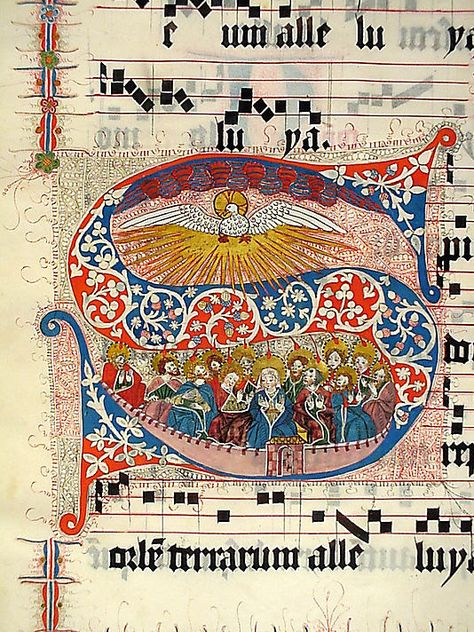Manuscript Leaf with Initial S, from a Gradual Date: second quarter 15th century Geography: Made in probably Mainz, Germany Culture: German Medium: Tempera, ink, and metal leaf on parchment Dimensions: 19 3/4 x 14 1/8 in. (50.1 x 35.9 cm)