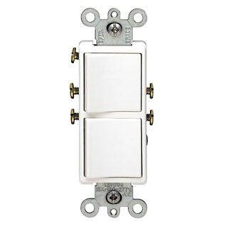 Leviton 5634 W Decora Combination Double Rocker Light Switch Single Pole White Wall Light With Switch Leviton Electrical Supplies