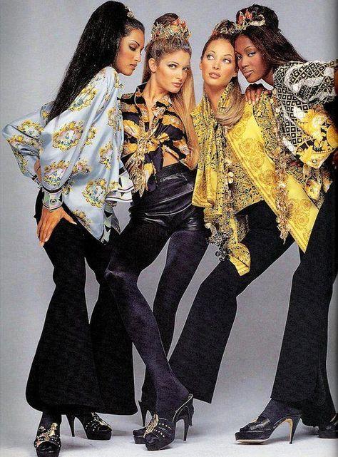 Naomi Campbell, Stephanie Seymour, Christy Turlington and Yasmeen Ghauri for Atelier Versace, Fall/Winter 1992 / 1993 Editorial Fashion