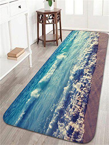 Ocean Beach Waves Bath Mats And Rugs Flannel Fabric Non Slip