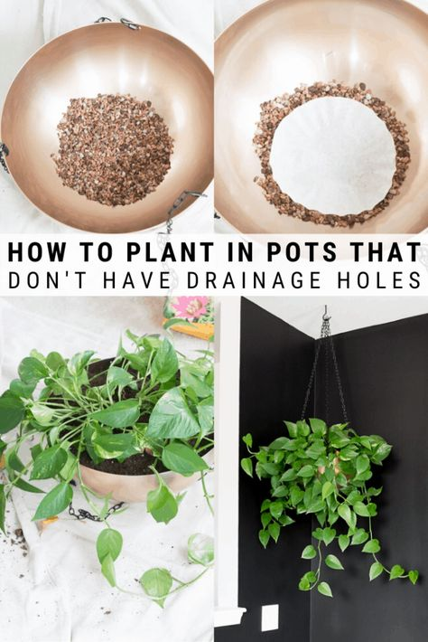 Learn how to plant in pots without drainage holes so you can make anything a planter! The best way to add drainage to indoor planters without drainage. Indoor Plant Pots, Indoor Planters, Indoor Garden, Potted Plants, Garden Plants, Plants In Pots, Fall Planters, Diy Planters, Planter Pots