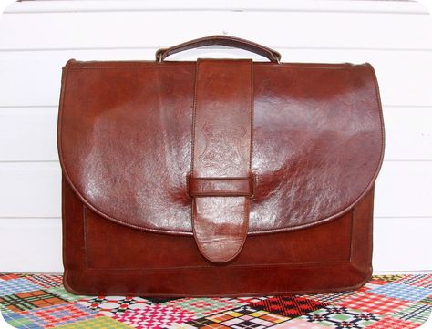 dac427bc3ce53 Vintage Leder Aktentasche Laptop Business Leather Bag Briefcase Unisex  Handmade in Kleidung   Accessoires