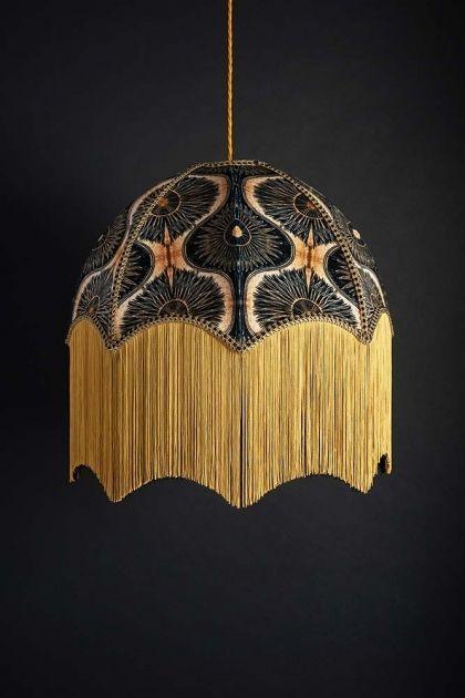 Anna Hayman Designs Decofabulous Gold Black Bibana Pendant Shade Black Lampshade Lampshades Modern Lamp Shades