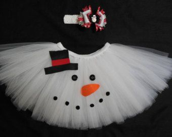 Snowman tutu set custom made your choice of size by CatyRoseBows