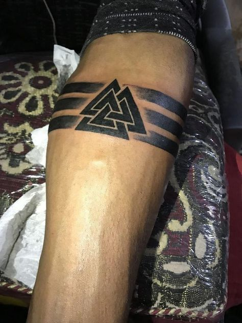 50 Valknut Tattoo Designs For Men - Norse Mythology Ink Ideas
