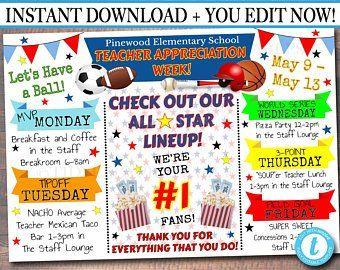 Sports Theme All Star Staff Appreciation Week Ideas Number One Vip Pto Pta School Itinera Teacher Appreciation Week Teacher Appreciation Appreciation Printable