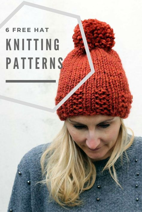 e29e5a91688 6 free hat knitting patterns that are made with chunky yarn and are easy  patterns for beginners.