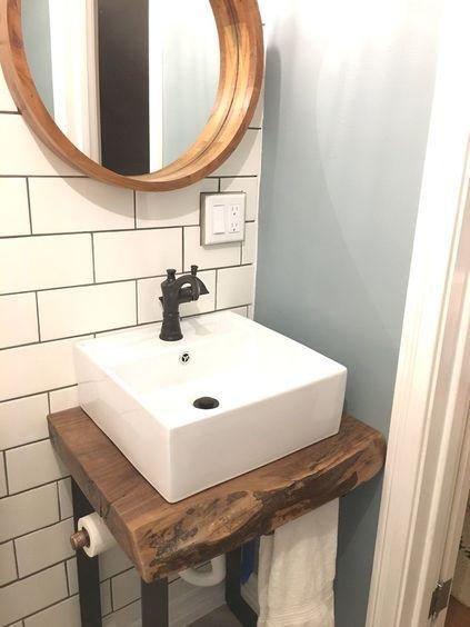 Live Edge Vanity Base Vessel Sink Subway Tile Perfect