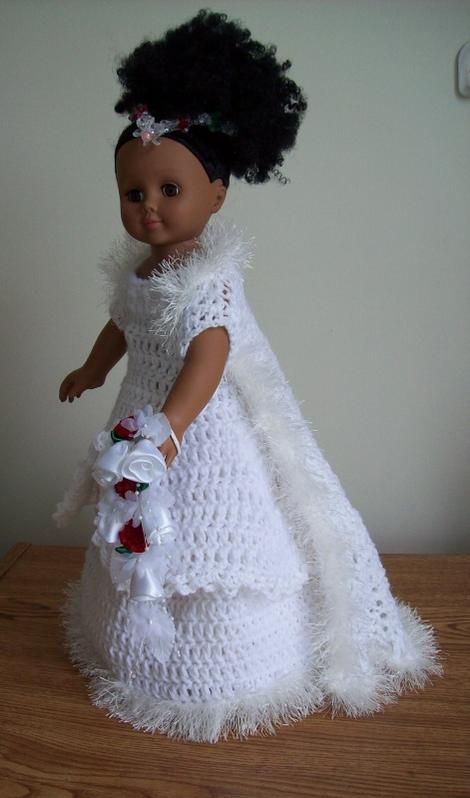 Free Crochet Pattern For Wedding Dress And Bridesmaid Dress Pinned