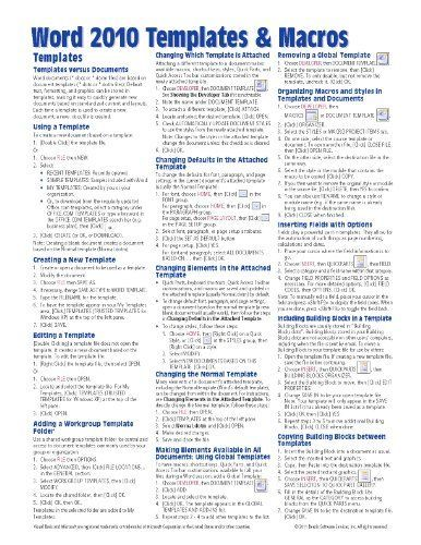 Microsoft Word 2010 Templates Macros Quick Reference Guide Cheat