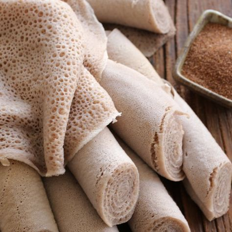 Perhaps the most important food in Ethiopian cuisine, injera is a spongy sourdough flatbread that serves as a bread and an eating utensil.