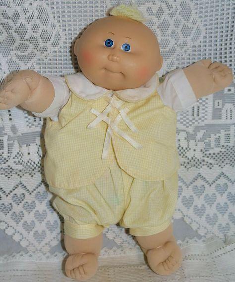 Vintage Cabbage Patch Kid Preemie 1982 Coleco Blue eyes blonde Hair #CabbagePatchKids