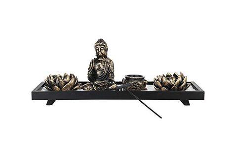 Mygift Home Zen Garden Set Buddha Statue Lotus Tea Light Candle Holder Incense Burner Holder Review Buddhist Decor Lotus Tea Porcelain Candle Holder