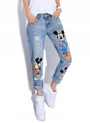 Jeansy Spodnie Niebieskie Boyfriend Myszka Miki M Mom Jeans Fashion Pants