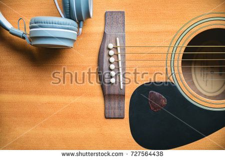 Classic And Music Style Acoustic Guitar Background With Headphone Music And Guitar Pick Musical Mood Induction Background