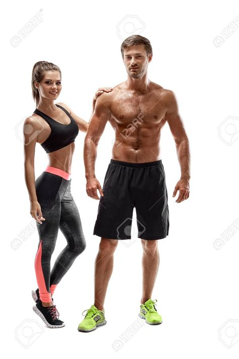 Sport, fitness, workout concept. Fit couple, strong muscular..