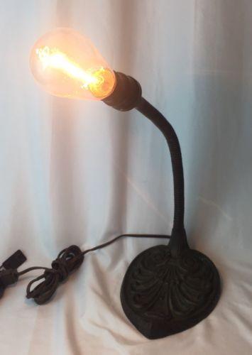 Vtg Gooseneck Cast Iron Table Desk Lamp Art Deco Nouveau Industrial No Shade Metal Desk Lamps Glass Light Fixture Art Deco Table Lamps