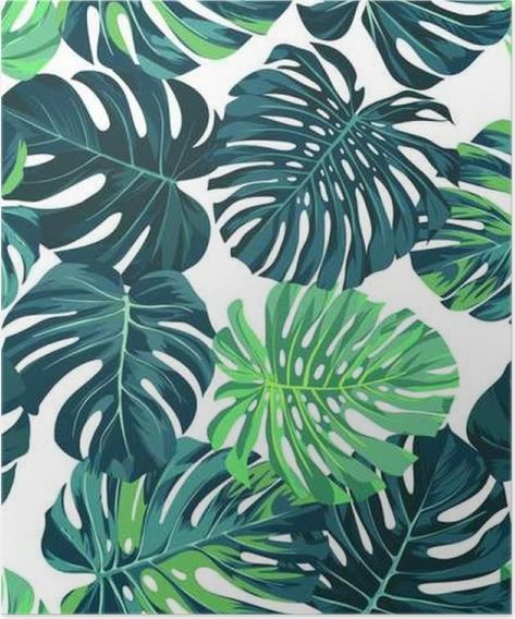 Vector seamless pattern with green monstera palm leaves on dark background.