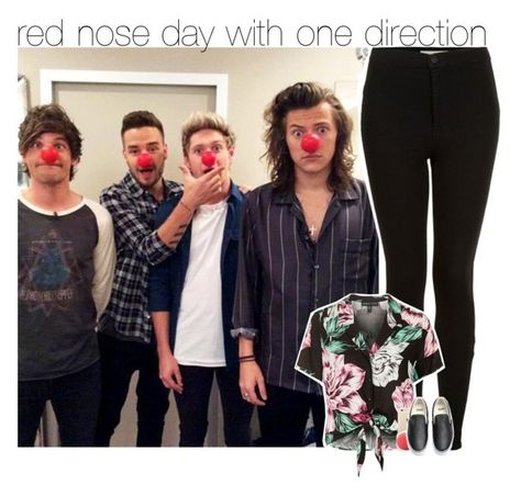 """""""red nose day with one direction (READ THE D)"""" by zalix ❤ liked on Polyvore featuring Topshop and Vans"""