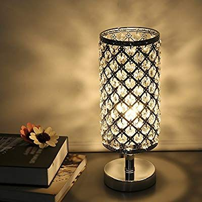 Tomshine Table Lamp Modern Nightstand Lights For Bedroom Crystal Silver Desk Lamp Shades Replacement For Bedsi Crystal Table Lamps Table Lamp Modern Table Lamp