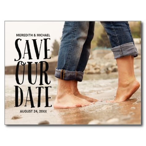 Photo save the date with fun, whimsical font and full-bleed photo