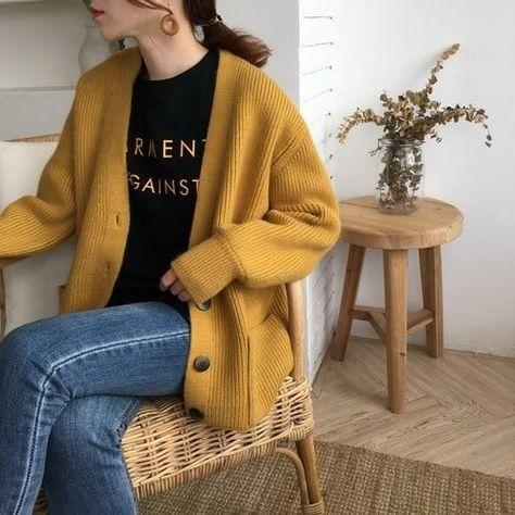 women sweater 2019 Harajuku Short chunky Knitted Cardigan Loose Sweater Coat Student Wear - yellow / One Size