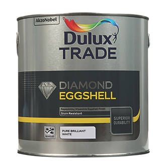 Dulux Trade Diamond Quick Drying Eggshell Paint Pure Brilliant White 2 5ltr Dulux Trade Dulux Dulux Paint Colour Charts