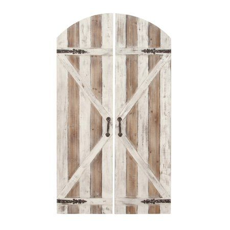 Decmode Set Of 2 Farmhouse 59 X 34 Inch Slatted Fir Wood And Iron Arched Top Barn Door Wall Plaque Brow Metal Wall Plaques Shutter Wall Decor Wood Panel Walls
