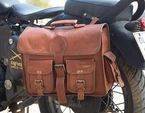 Leather Native 2 Side Pouch Brown Leather Motorcycle Side Pouch Leather Saddle Bags Leather Pannier Mens Leather Bag