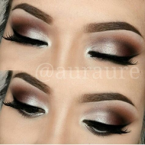 Silver/brown smokey eye Gonna try this with silver shimmer, chestnut brown and charcoal black shadows!