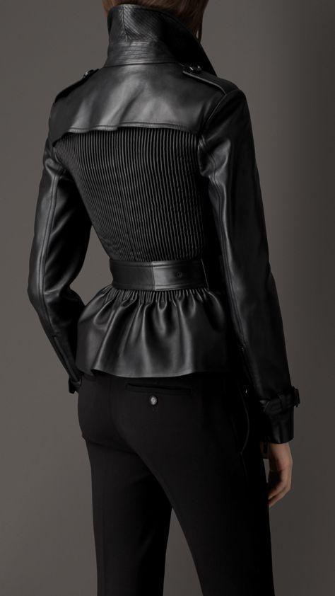 Ribbed Panel Lambskin Peplum Jacket | Burberry