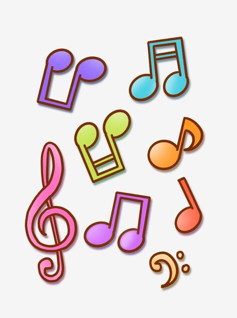 Mao Desenhada Desenhos Animados Coloridos Notas Musicais Simbolos