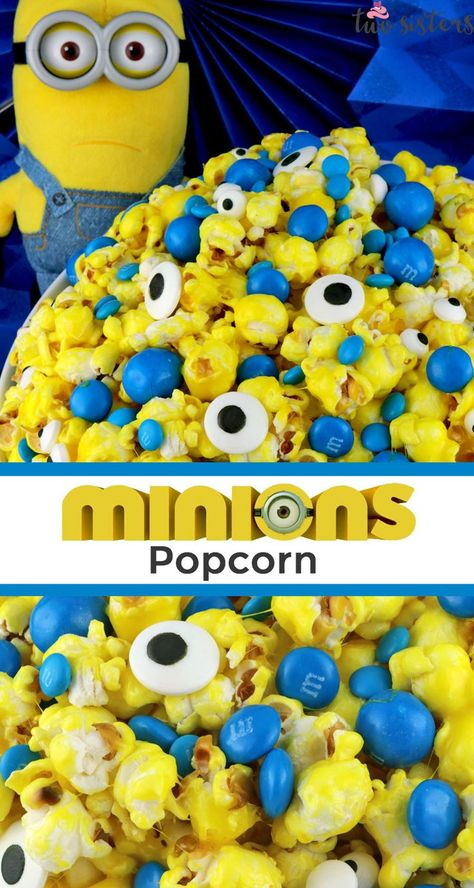 Yummy and adorable Minions Popcorn - sweet and salty popcorn mixed with M&M candy and googly monster eyes. A fun and delicious treat your family will love. Popcorn Mix, Flavored Popcorn, Popcorn Recipes, Gourmet Popcorn, Minion Birthday, Minion Party, Minion Theme, 2nd Birthday, Happy Birthday