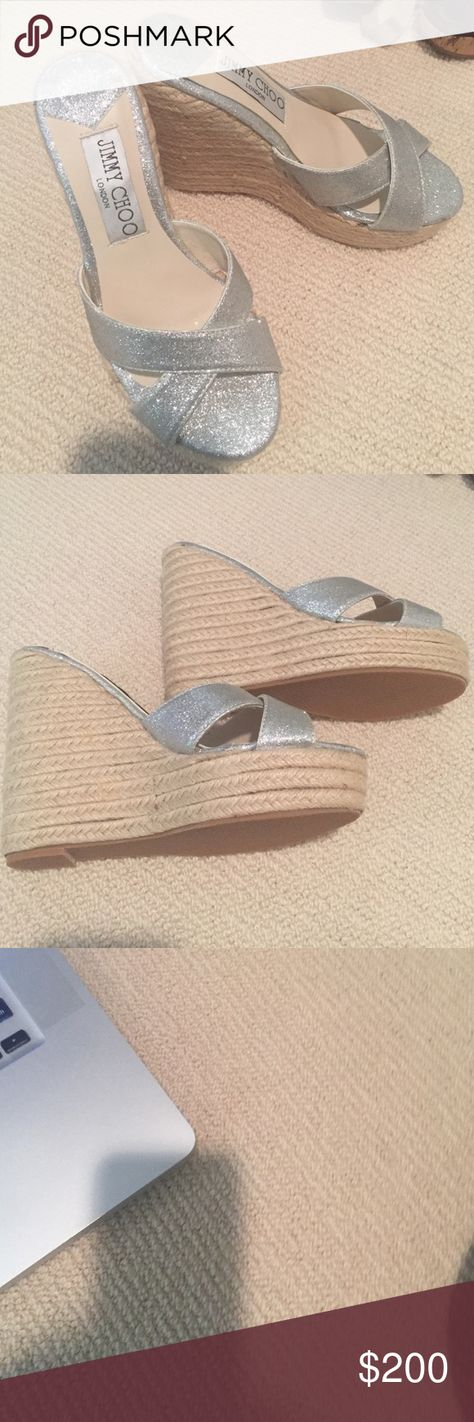 Jimmy Choo Phyllis Espadrille wedge Size 37. 120mm Sparkle Espadrille Wedge. Worn once. 100% authentic Jimmy Choo Shoes Wedges