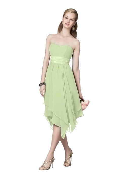 dbdc590686668 Alfred Angelo - Style 7196 Strapless Tea-Length Green Chiffon A-Line Bridesmaid  Dress with Asymmetrical Skirt