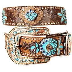 Kippys belt in bronze & turquoise.
