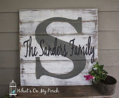 DIY Pallet sign Ideas - Monogram Pallet Family Name Sign -  Upcycled Pallet Art Cool Homemade Wall Art Ideas and Pallet Signs for Bedroom, Living Room, Patio and Porch. Creative Rustic Decor Ideas on A Budget http://diyjoy.com/diy-pallet-signs-ideas