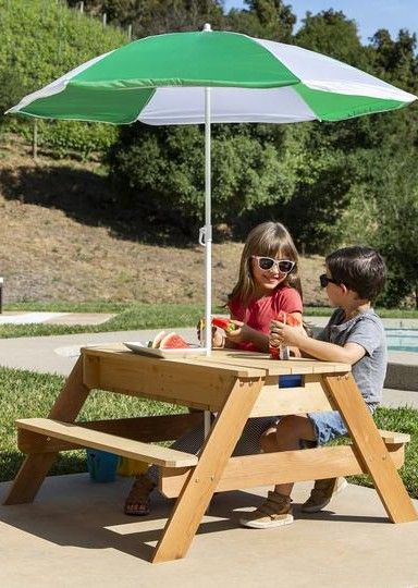 3 In 1 Kids Convertible Wood Sand Water Picnic Table W Umbrella