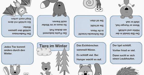 Tiere Im Winter Lese Faltheftchen Leseubungen Vorschule Winter
