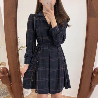 monroll Long-Sleeve Plaid Mini A-Line Shirtdress   YesStyle