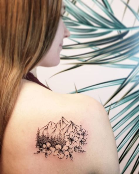 Fine line mountain scenery tattoo with cherry blossoms done by Vancouver tattoo artist Jamie Kan Xoil Tattoos, Line Tattoos, Forearm Tattoos, Small Tattoos, Arrow Tattoos, Tattoo Ink, Tatoos, Mountain Sleeve Tattoo, Mountain Tattoo Design