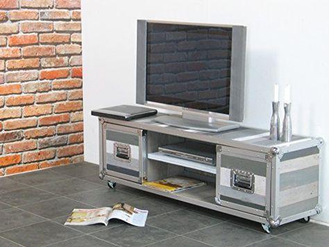 Design Flight Case Pour Tv Meuble Tv Gris Amazonfr