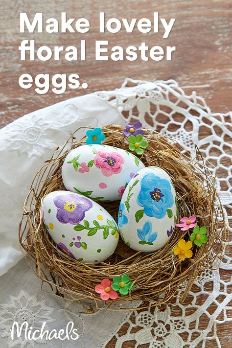 These hand-painted wooden eggs will be cherished for years to come. Use these pretty pastel paints or customize to match your décor.