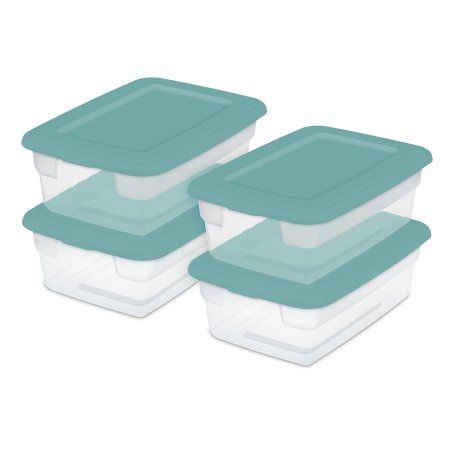 Sterilite Set 4 12 Quart Shoe Box Aqua Ocean Set Of 16 Blue Ocean Cases Sterilite Storage Box