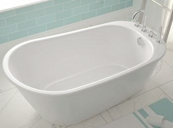 Freestanding Soaking Tub End Drain Faucets On Drain End With