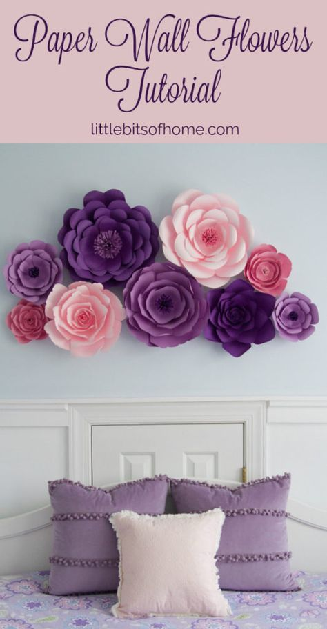 Paper Wall Flowers Tutorial paper flowers for wall Paper Wall Flowers Tutorial Big Paper Flowers, Paper Flower Art, Paper Flower Tutorial, Paper Flower Backdrop, Paper Flowers Wall Decor, How To Make Flowers Out Of Paper, Large Paper Flower Template, Diy Easy Paper Flowers, Hanging Paper Decorations