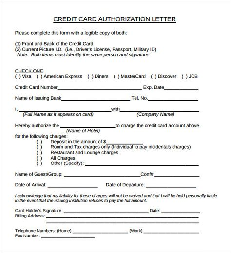 sample credit card authorization letter free examples writing - sample credit card authorization form