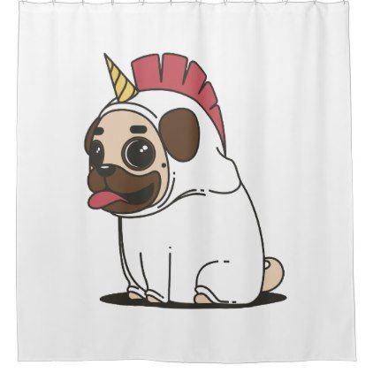 Smiling Cartoon Pug In A Unicorn Costume Shower Curtain Zazzle
